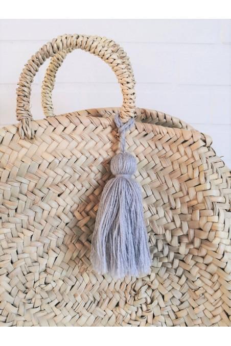 Pompon gris clair laine