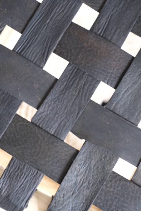Tabouret beldi marocain cuir noir