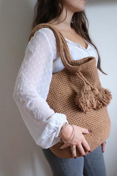 Sac crochet camel - sac laine - sac à main - panier crochet - panier déco - wkhdeco