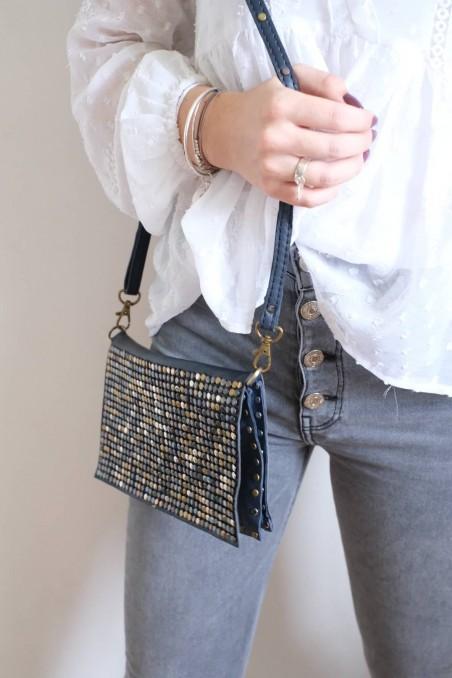 sac à main cuir - sac cuir italie - sac bleu marine - wkhdeco