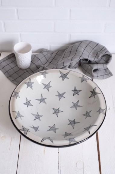 Plat en céramique de fes - plat marocain - plat semoule - plat etoile - wkhdeco