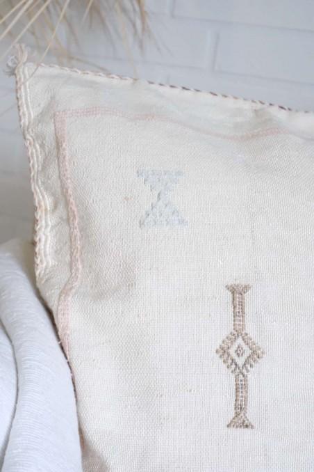 Coussin sabra blanc - coussin aloé vera - coussin cactus - coussin blanc - coussin fibre naturelle - wkhdeco