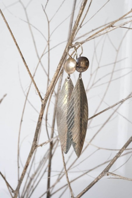 Boucles d'oreille ethnique touareg - berbère - bohème - argenté - wkhdeco