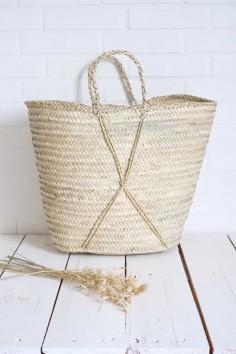 Panier en paille - Cabas en paille - panier plage - sac plage - Panier naturel - wkhdeco