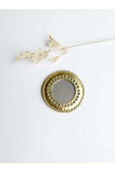 Mini miroir rond - mini miroir maillechort - petit miroir doré - petit miroir rond - miroir de poche - wkhdeco