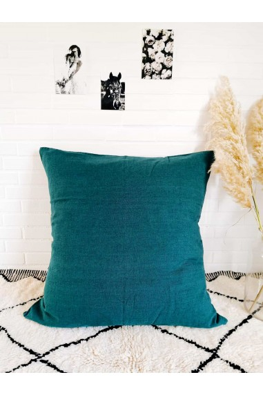 Coussin en lin harmony - coussin propriano bleu paon - coussin lin - grand coussin - wkhdeco