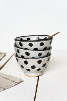 Bol en céramique de fès - noir et blanc - bol à pois - maroc - vaisselle céramique - wkhdeco