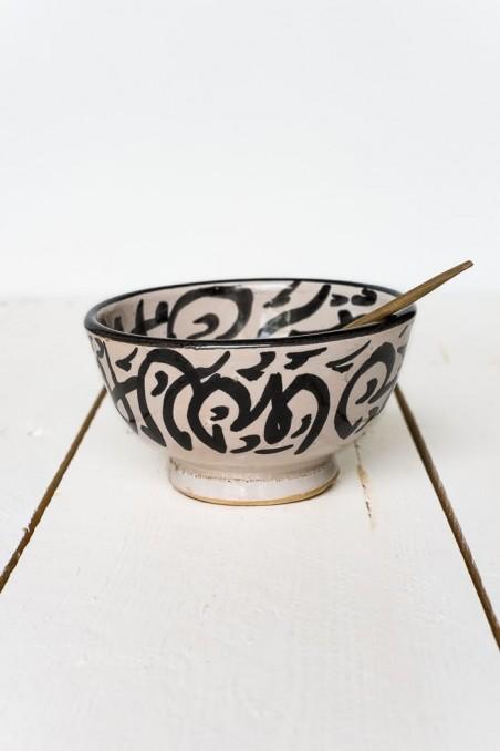 Bol en céramique de fès - noir et blanc - bol calligraphie - maroc - vaisselle céramique - wkhdeco