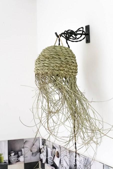 Suspension marocaine à franges - suspension feuille de palmier  - suspension en paille  - wkhdeco