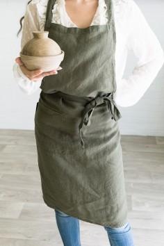 Tablier de cuisine en lin - harmony - nais - kaki - linge de table  - linge de cuisine - wkhdeco