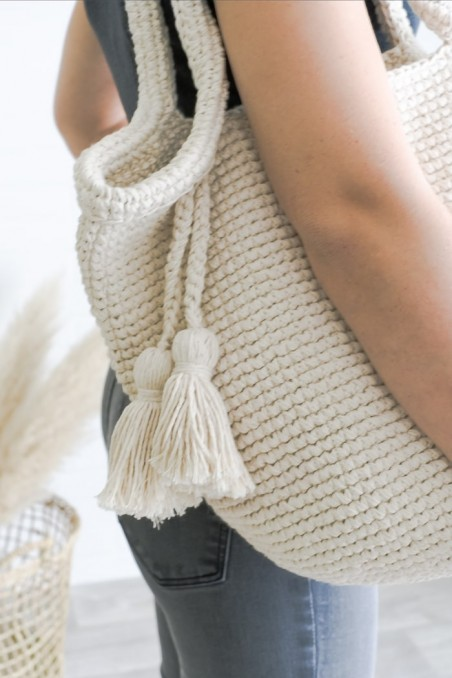 Sac crochet blanc - sac laine - sac à main - panier crochet - panier déco - wkhdeco
