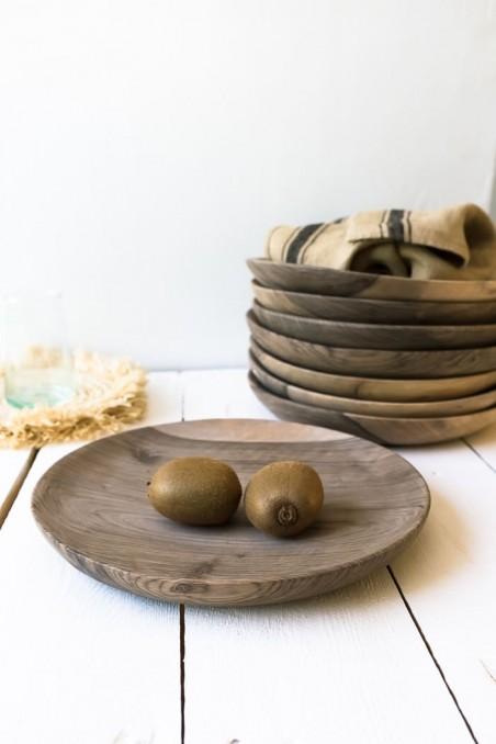Plat en bois de noyer - assiette en bois de noyer - vaisselle en bois - wkhdeco