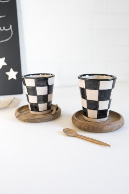 dessous de verre bois de noyer - vaisselle bois - verre beldi - wkhdeco