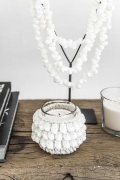 Bougeoir macramé - bougeoir coton - coquillage blanc - déco bali - bazar bizar - wkhdeco