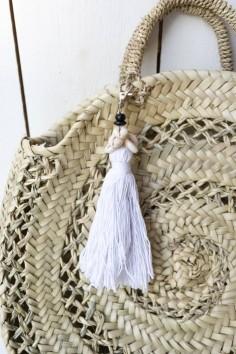 Porte-clés coton blanc coquillages - joli porte-clés - porte-clés bali - déco bali - bazar bizar - wkhdeco
