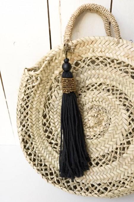 Porte-clés coton noir - porte-clés perles - porte-clés bali - déco de bali - bazar bizar - wkhdeco