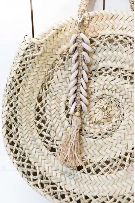 Porte-clé raphia et coquillage cauris - porte-clés bali - déco de bali - bazar bizar - wkhdeco
