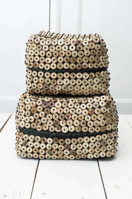 Boîte en noix de coco et bambou - panier noix de coco - déco de bali - bazar bizar - wkhdeco