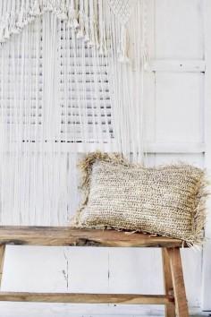 Coussin en raphia rectangle - déco de bali - bazar bizar - wkhdeco