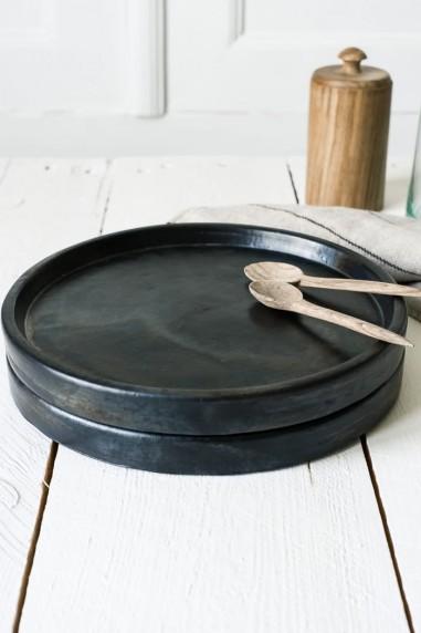 Assiette noire terre cuite brulée - assiette bali - vaisselle bali - vaisselle terre cuite -