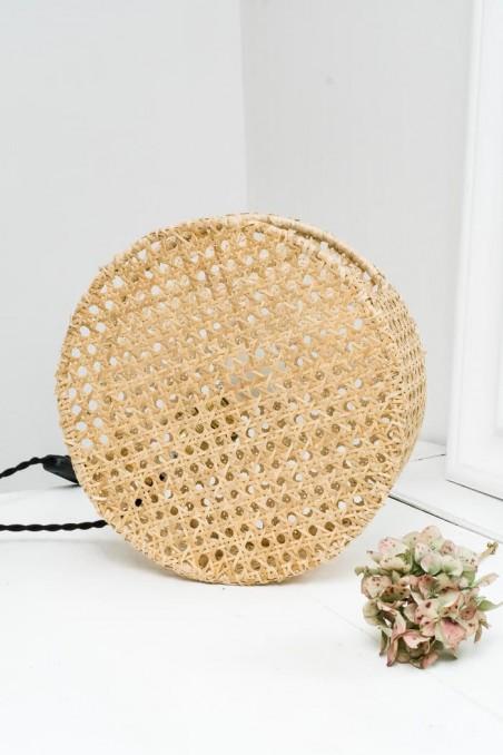 Lampe en cannage - lampe ronde  - lampe à poser - lampe originale - wkhdeco