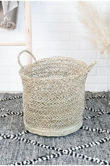 Panier naturel feuille palmier - panier à linge - panier paille - corbeille linge - cache pot paille - panière - wkhdeco