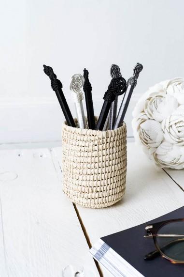 pot à crayons - cache canette raphia - couvre canette - cache bouteille - cache canette naturel - deco maroc - wkhdeco