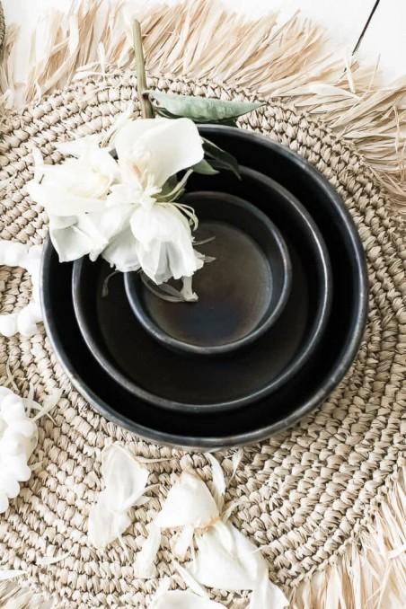 Bol en terre cuite brulée - bol noir - bol artisanal - fait main - déco de bali - déco maroc - bazar bizar - wkhdeco