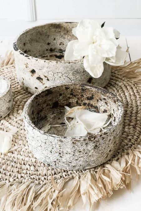 Bol en terre cuite brulée - bol blanc - bol artisanal - fait main - déco de bali - déco maroc - bazar bizar - wkhdeco