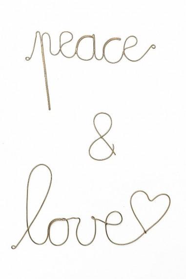 Mot peace and love - Mot maillechort - mot laiton doré - amour - wkhdeco