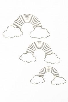 nuage laiton doré - décoration nuage - arc en ciel laiton - maillechort - décoration chambre enfant - wkhdeco