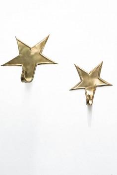Patère étoile - patère laiton - maillechort - porte manteau - patère doré - wkhdeco