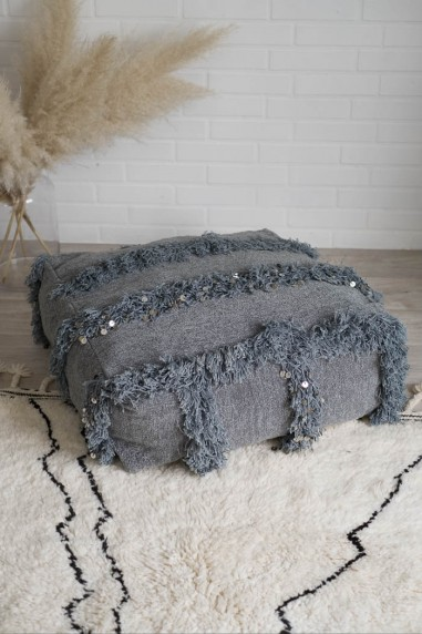 pouf handira gris berbere wkhdeco