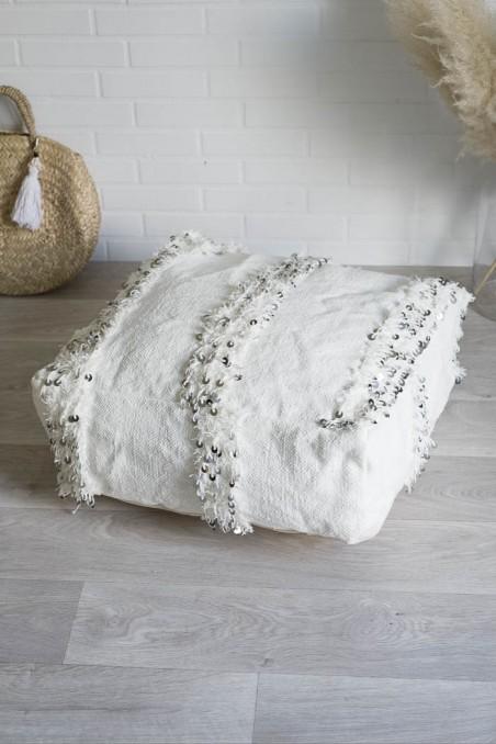 Pouf berbère Handira blanc - pouf laine - pouf marocain - wkhdeco