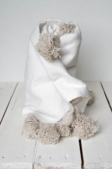 Plaid à pompons marocain - plaid en laine - plaid coton - plaid berbère - couvre lit - couverture - wkhdeco