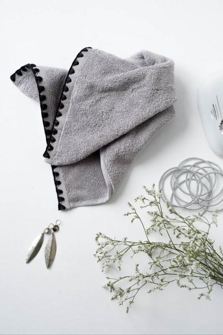 Serviette de toilette harmony issey béton - serviette éponge