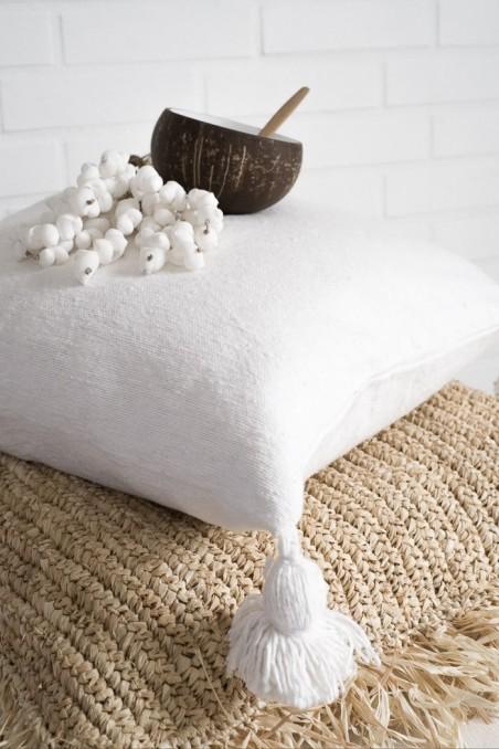 Housse de coussin berbère blanc pompons blancs - coussin marocain - wkhdeco