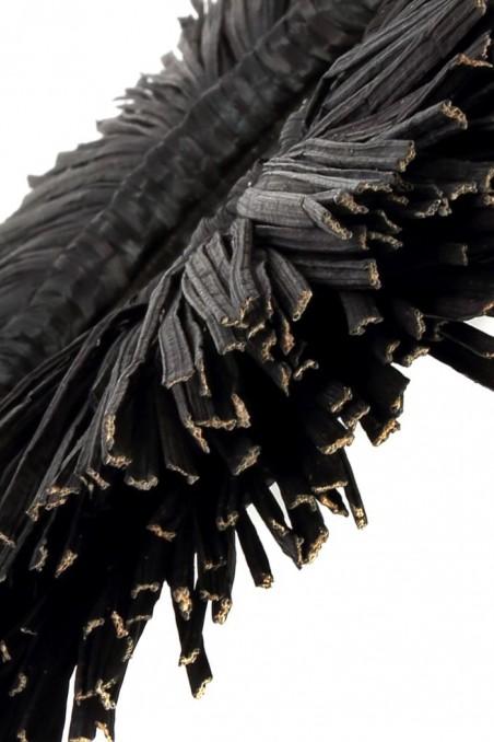 Miroir noir alang alang - miroir jonc de mer noir - miroir paille - deco de bali - bazar bizar - wkhdeco