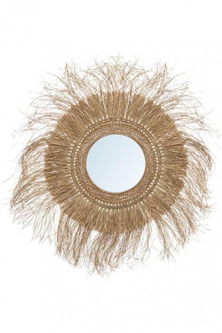 Miroir paille xxl - grand miroir paille - miroir à franges - miroir bohème - déco de bali - bazar bizar - wkhdeco
