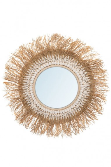 Miroir rond raphia et coquillages - miroir bali - deco de bali - miroir paille - bazar bizar - wkhdeco