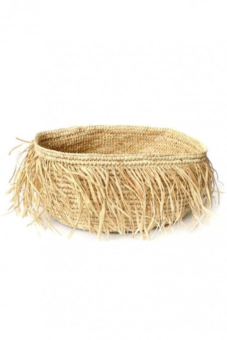 Panier en raphia à franges - panier naturel - panier paille - deco de bali - deco maroc - bazar bizar - wkhdeco