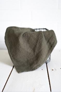 Essuie-main java harmony - kaki - serviette invité - 100% lin - linge de maison - torchon - wkhdeco