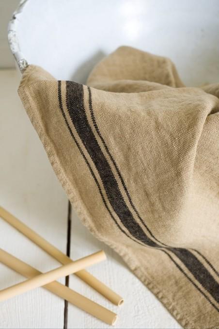 Torchon harmony olbia camel - torchon en lin - linge de maison en lin - wkhdeco