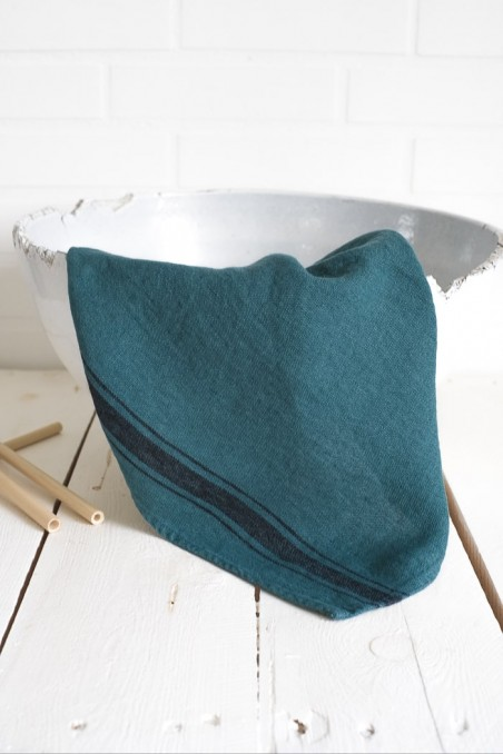 torchon lin olbia bleu paon - torchon lin - linge de cuisine - wkhdeco