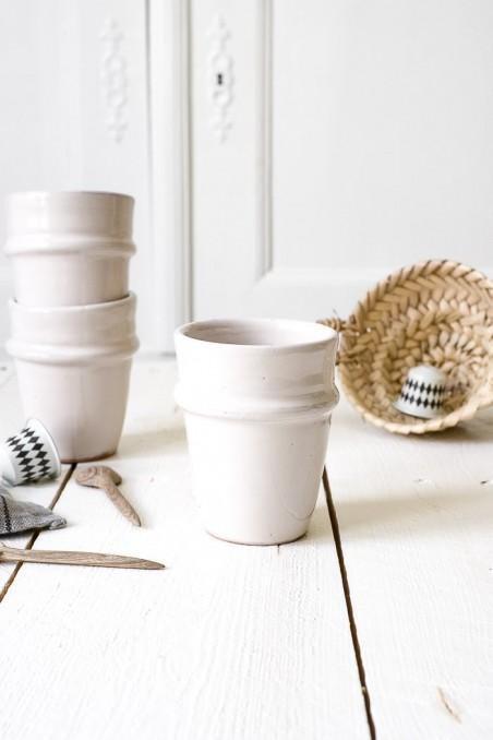 tasse blanche Beldi en céramique - Fabriquées au Maroc - wkhdeco