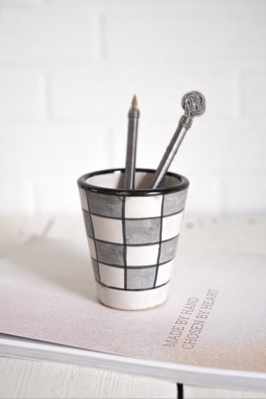 Mug en céramique - Fès - mug marocain - mug gris et blanc - étoile - wkhdeco