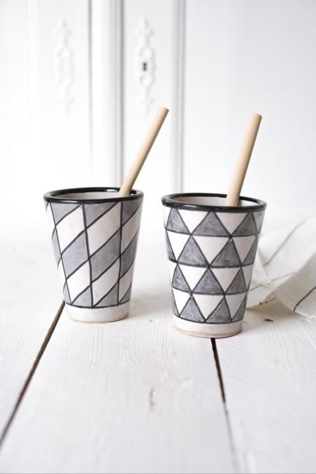 Mug en céramique - Fès - mug marocain - mug gris et blanc - wkhdeco