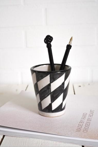Mug céramique - mug marocain - mug noir et blanc - tasse à café - wkhdeco
