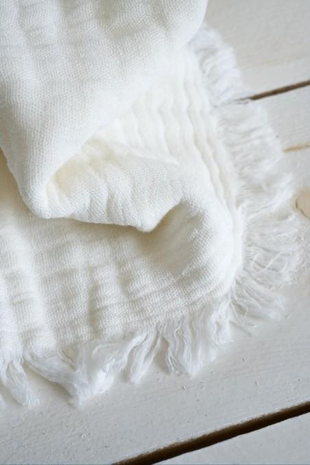 Plaid vanly gaze de coton - linge de lit - linge de maison - plaid couvre lit - ivoire - harmony textile - wkhdeco