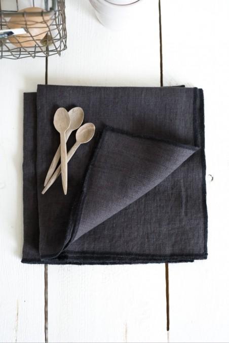 Serviette de table en lin harmony letia charbon wkhdeco